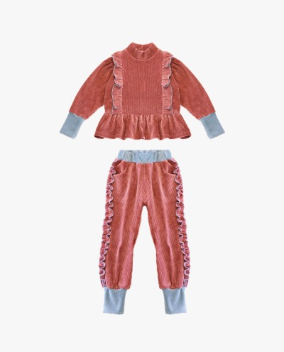 [르샤누아] TWO TONE FRILL VELOUR SET